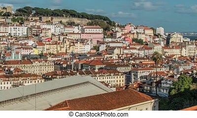 Lisbon, Portugal skyline towards Sao Jorge Castle - Lisbon...