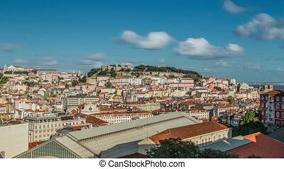 Lisbon, Portugal skyline towards Sao Jorge Castle - Lisbon...