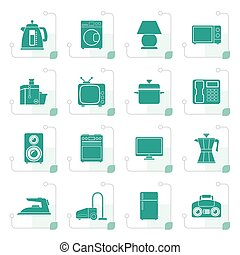 Stylized home equipment icons - vector icon set