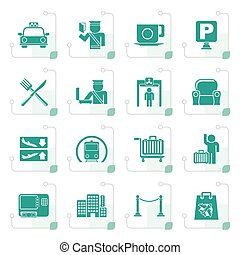 Stylized Airport, travel and transportation icons - vector...