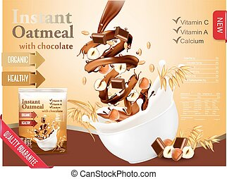 Instant oatmeal with chocolate and hazelnut advert concept....