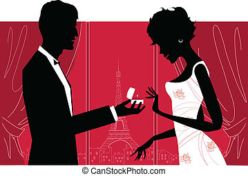 Romantic couple - Vector illustration of a couple making an...