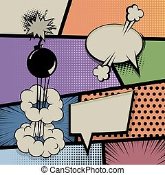 Pop art vintage background comic balloon - Vintage pop art...
