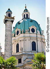 Detail of Karlskirche in Vienna - Karlskirche in Vienna,...