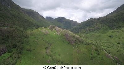 Aerial, Landscapes Around Loch Achtriochtan, Glencoe,...