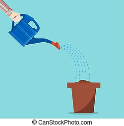 Hand holding watering can watering plant in pot. vector...