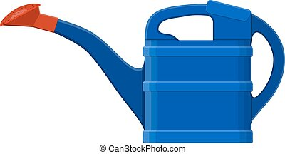 Blue plastic watering can isolated on white.Vector...