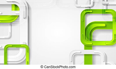 Abstract bright green squares tech video animation