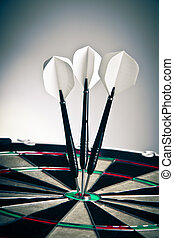 Darts Arrows Right In The Center - Three Darts Arrows Poked...