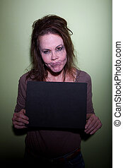 Frustrated woman taking mugshot - Sloppy woman with messy...