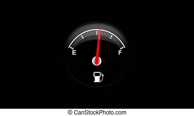 4K Animation Car Fuel Dashboard moving up and down pin...