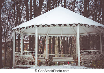 Winter White Alcove - Decorative wooden alcove with benches...