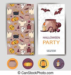 Vector happy halloween card. Design for holiday poster. Party invitation template