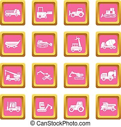 Building vehicles icons pink - Building vehicles icons set...