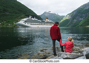 Cruise liner in the waters of Geirangerfjord, Norway -...