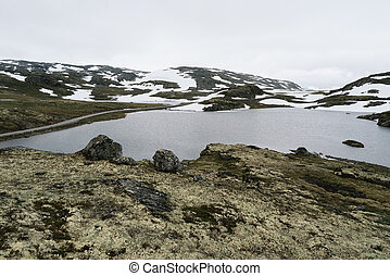 Aurlandsfjellet - tourist route in Norway and Flyvotni lake...