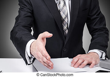 Business man open hand ready to seal a deal, partner shaking...