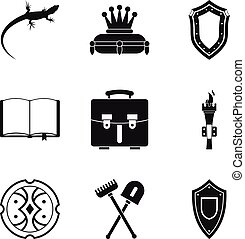 Olden time icons set, simple style - Olden time icons set....