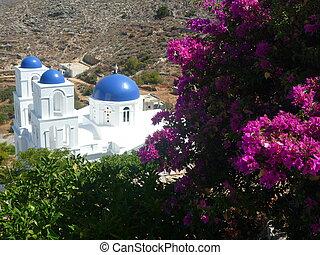 colorful greek church - Greek church in Amorgos island