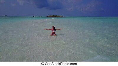 v06287 Aerial flying drone view of Maldives white sandy...