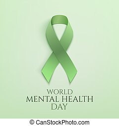 World mental health day background. Green ribbon. Poster or...