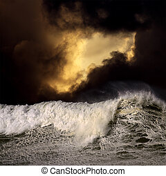 Big wave in a stormy sunset - Photo composition with big...