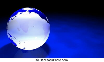 3d Glassy Earth Animation AlphaMask - Glassy Blue and white...