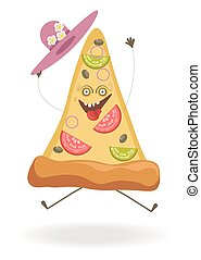 Triangular pizza slice with ridiculous face and hat -...