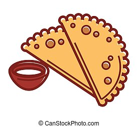 Hot chebureki with sauce in small bowl isolated illustration...