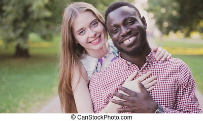 Portrait of a interracial happy couple - Portrait of...