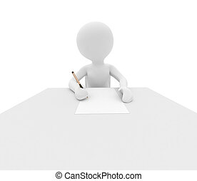 person writes on white table - 3d render: person writes on...