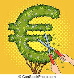 Bush in the form of euro sign pop art vector - Bush plant in...