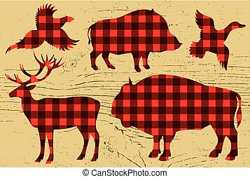 restaurant menu with pheasant, boar, bison, deer, duck -...