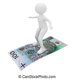person flying polish banknote - 3d render: person flying...