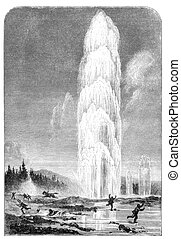Geyser in Yellowstone national park. Illustration originally...