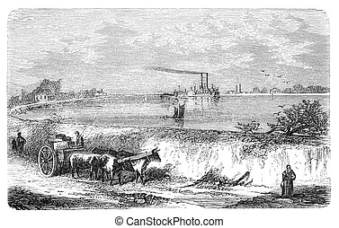 Dam in Lower Mississippi. Illustration originally published...