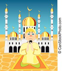 Moslem on background of the mosques.Vector illustration