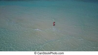 v06250 Aerial flying drone view of Maldives white sandy...