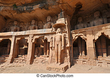 Gopachal Parvat Statues, India - Ancient statues of Jain...