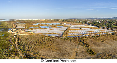 Salt production pans aerial panoramic view, in Ria Formosa...