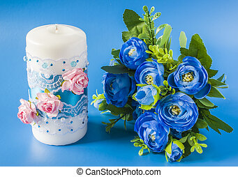 wedding candle and flowers