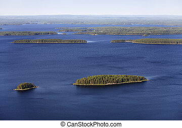 The Land of Thousand Lakes - Lake landscape in Finland. Lake...