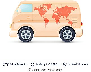Classic volkswagen bus. - Retro mini van with world map...
