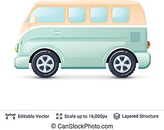 Classic volkswagen bus. - Retro mini van isolated on white....