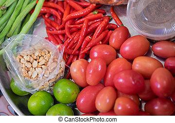 Som tum Thai food Ingredients. Thai spicy food