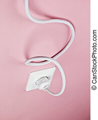 Electric Power Cable on Pink Background