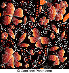 Seamless floral dark pattern with red-yellow flowers...