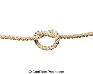 Tied Knot - Rope with a tied Knot isolated on white...