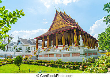 Beautiful Architecture at Haw Phra Kaew Temple, Vientiane,...