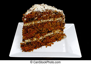 Slice of Carrot Cake - Slice of carrot cake on white plate...